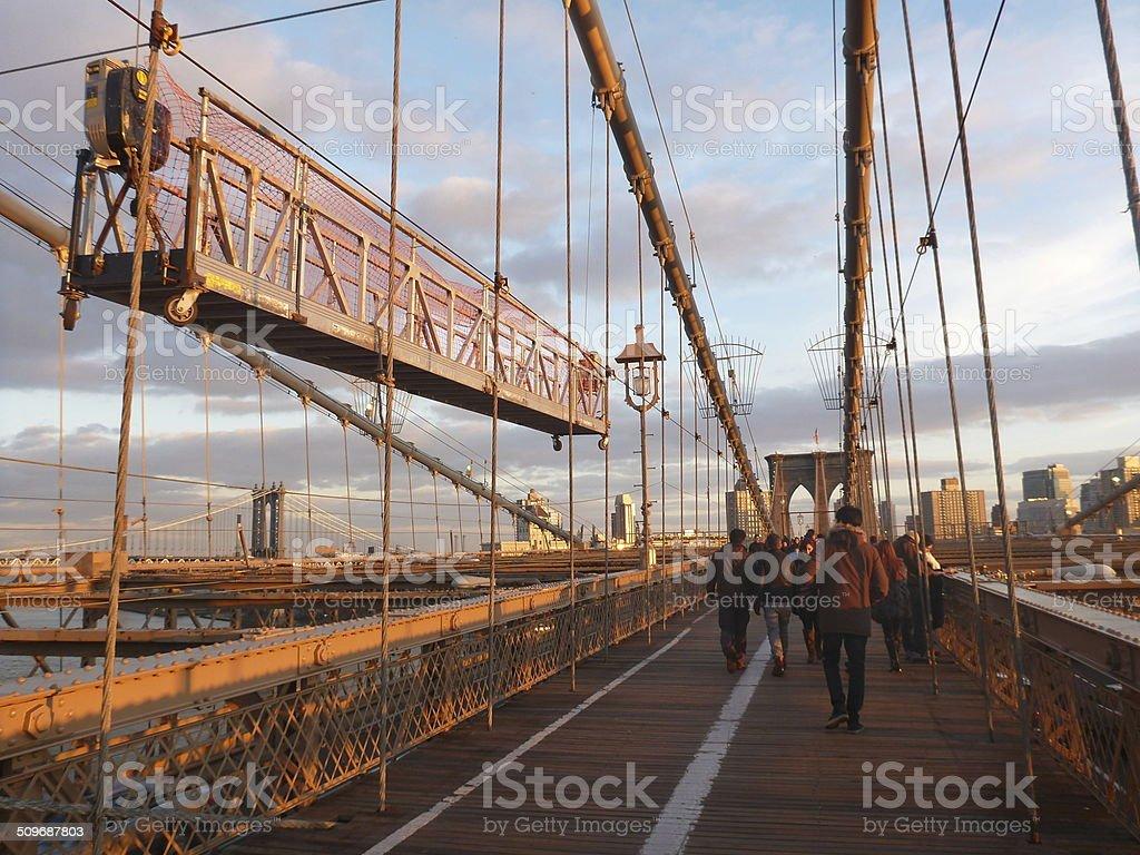 Sunset Stroll Along Brooklyn Bridge New York stock photo
