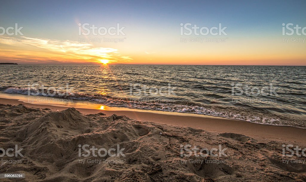 Sunset Summer Beach Background stock photo
