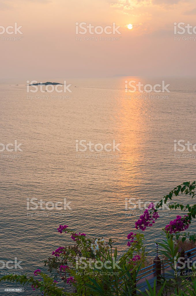 Sunset sun on Arabian sea in Murudeshwar, Karnataka, India. stock photo