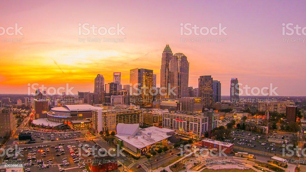 sunset sunrise over charlotte skyline north carolina stock photo