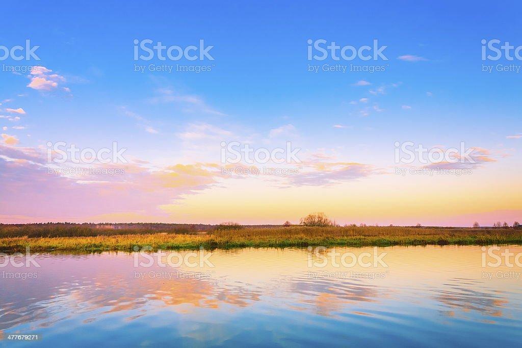 Sunset, Sunrise Over River royalty-free stock photo