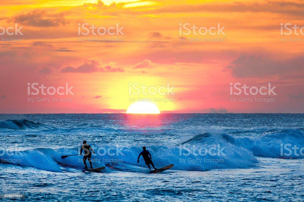 Sunset Surfer and Paddle Board on Pacific Waves, Kauai, Hawaii stock photo