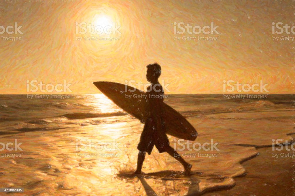 Sunset Surfer Crayon Drawing royalty-free stock photo