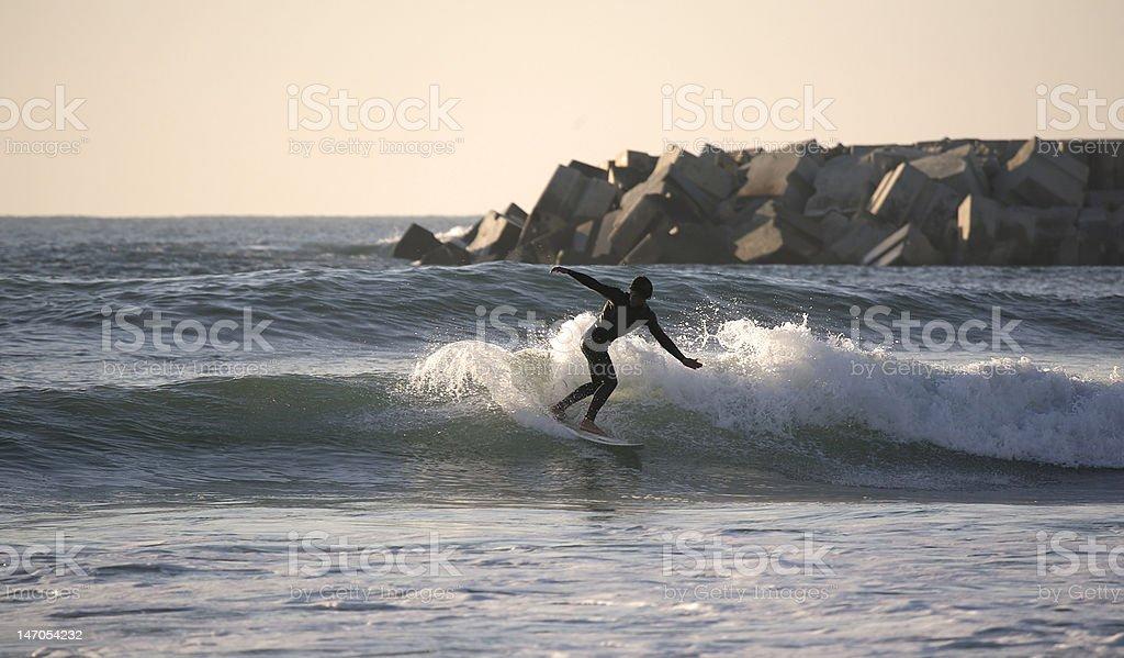 Sunset surfer royalty-free stock photo