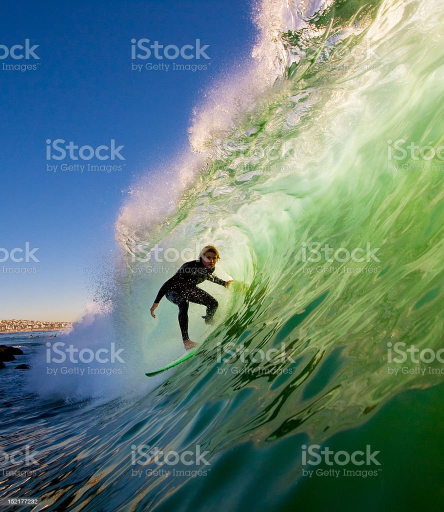 Sunset Surfer stock photo