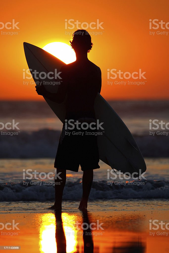 sunset surfer royalty-free stock photo