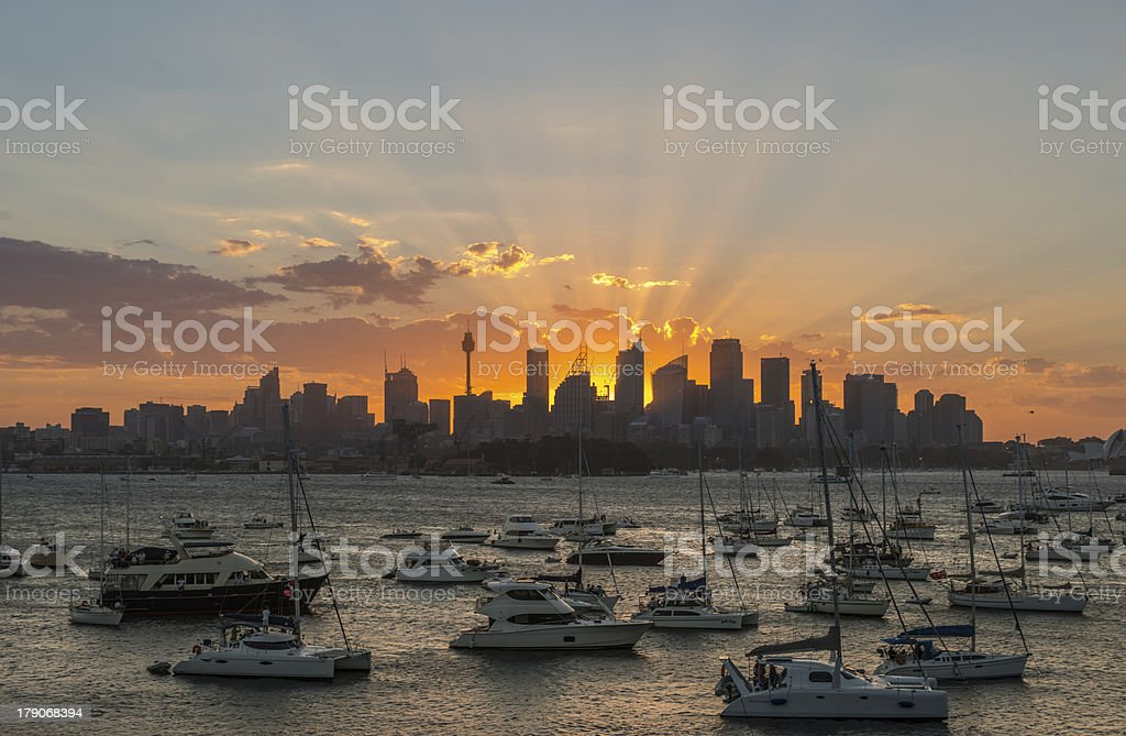 Sunset Sydney city CBD royalty-free stock photo