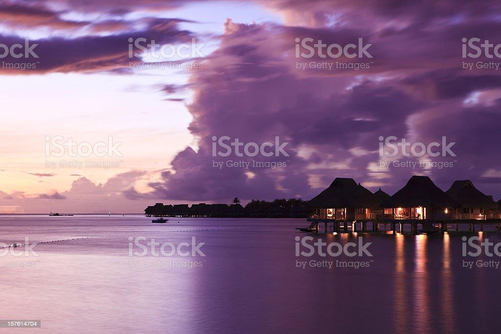 Sunset Tahiti stock photo