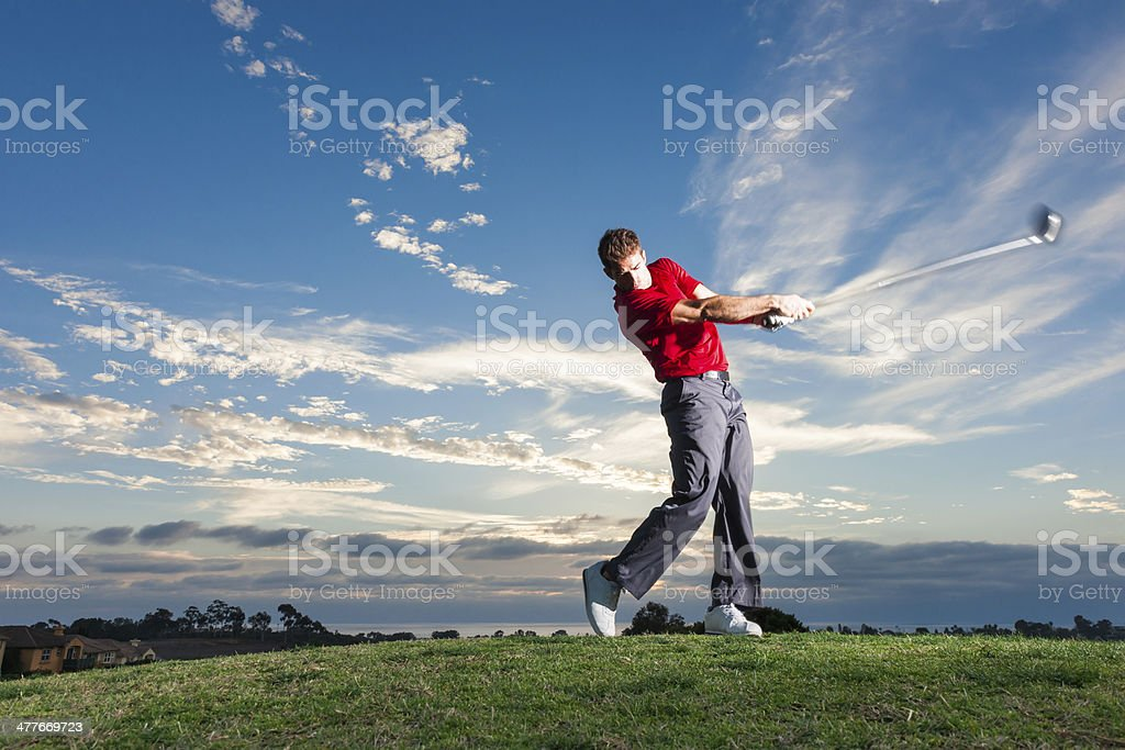 Sunset Tee Off stock photo