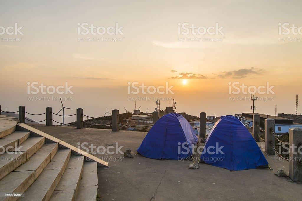 Sunset Tent stock photo