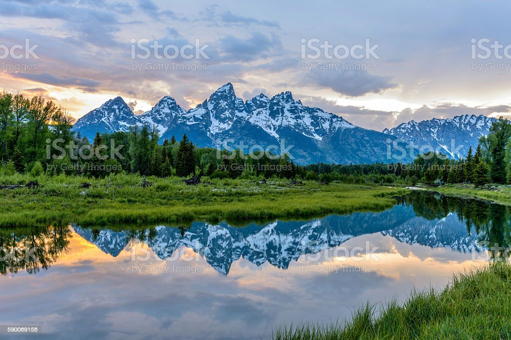 Sunset Teton Range at Snake River stock photo