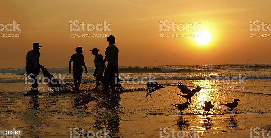 Sunset, the Arabian Sea. stock photo