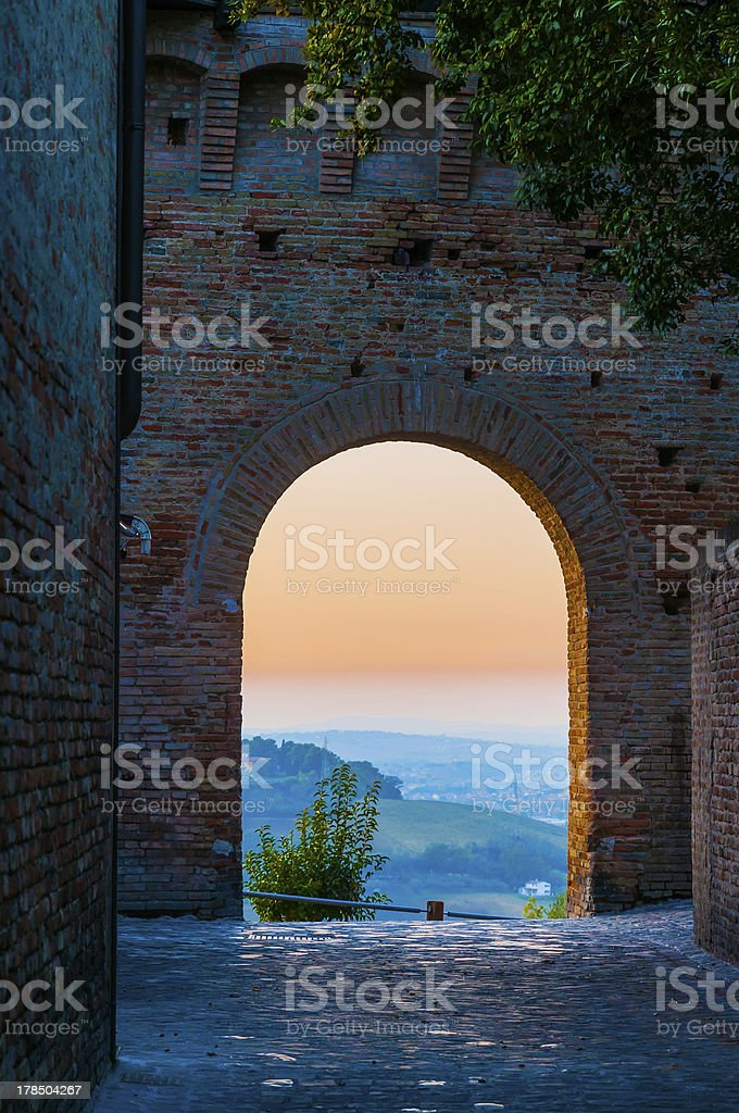 Sunset Through an Arch stock photo
