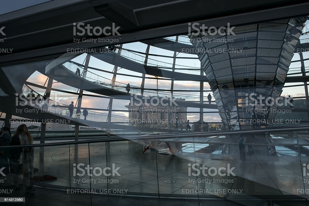 Sunset through the Reichstag Dome stock photo