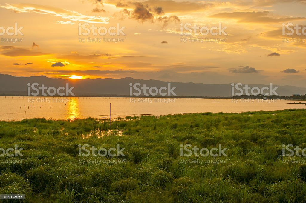 Sunset time at Kwan Phayao, Thailand stock photo