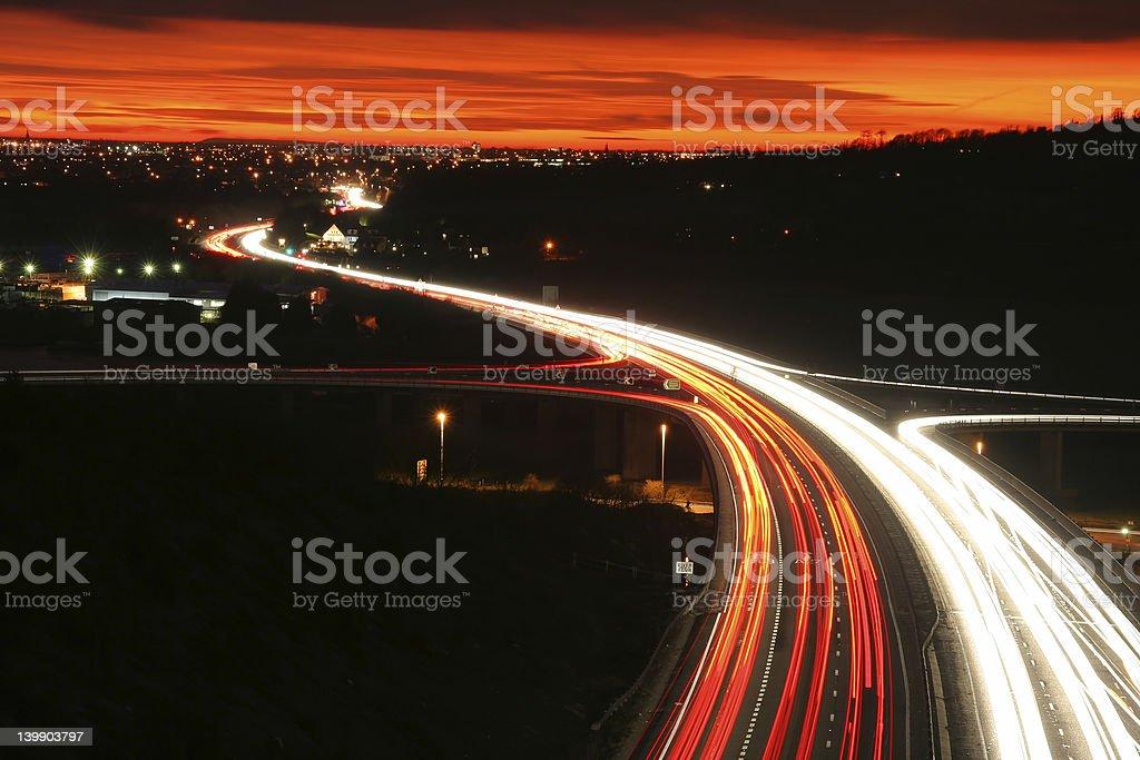 Sunset traffic royalty-free stock photo
