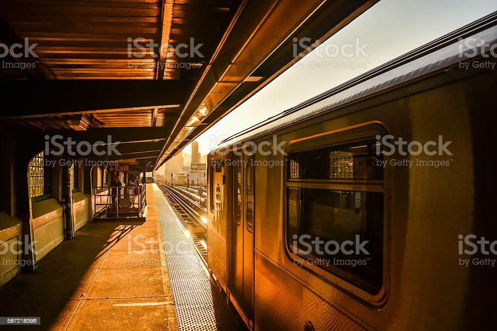 sunset train stock photo