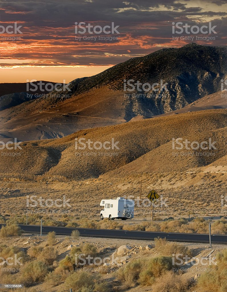 RV sunset trip royalty-free stock photo