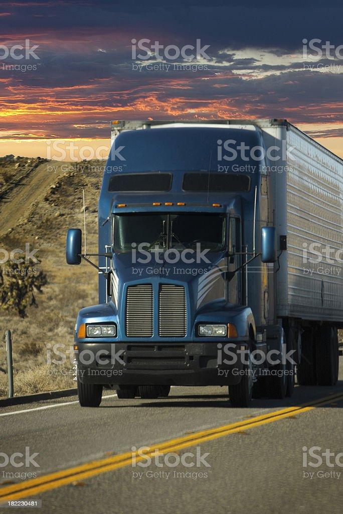 sunset trucker royalty-free stock photo