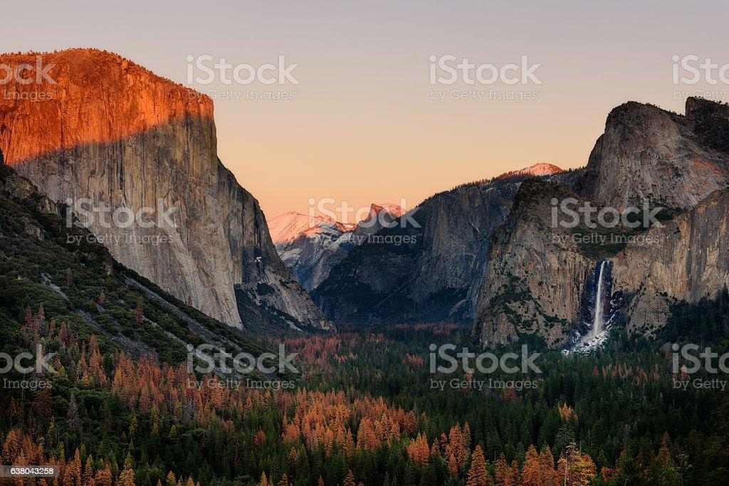 Sunset Tunnel view Yosemite Park, California stock photo