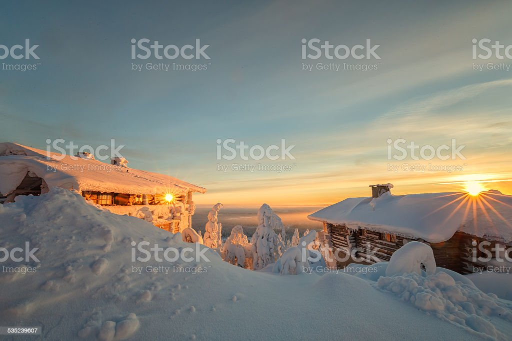 Sunset two times at lapland Finland stock photo