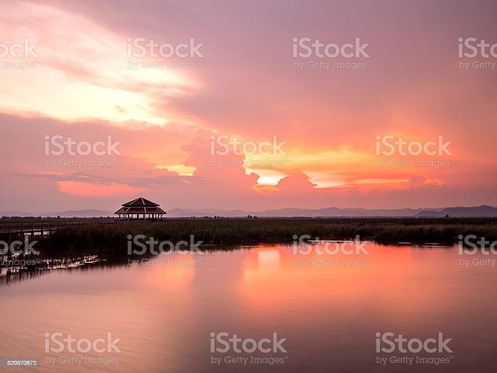 Sunset under sky 1 stock photo