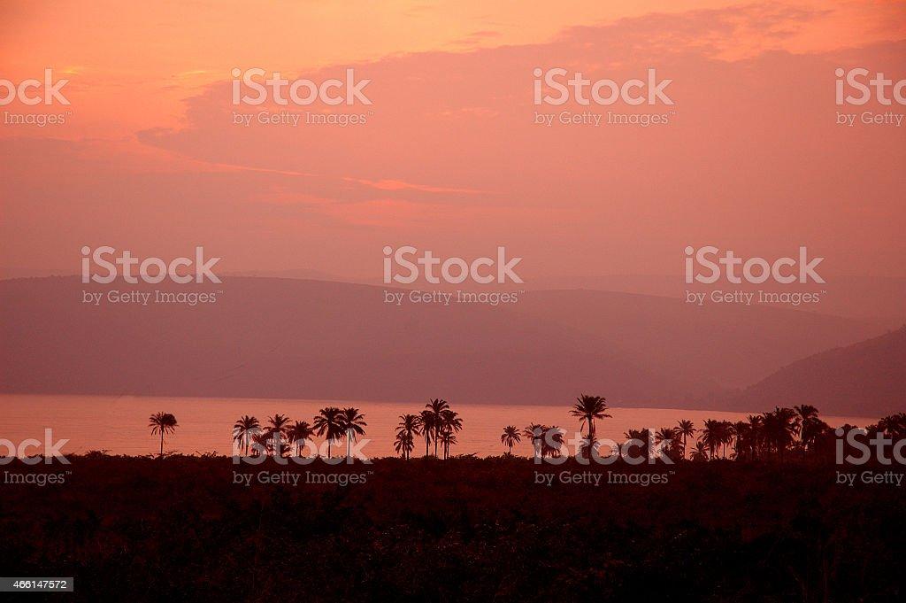 Sunset upon Congo river stock photo