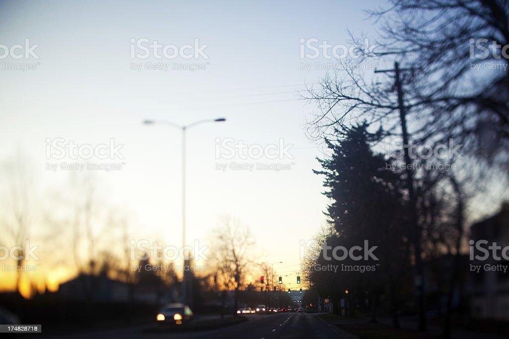 Sunset Urban City Street Traffic Tilt-Shift royalty-free stock photo