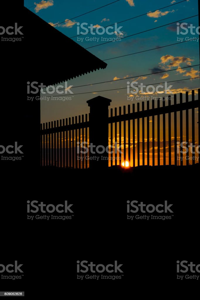 Sunset Urban Scene Guayaquil Outskirt, Ecuador stock photo