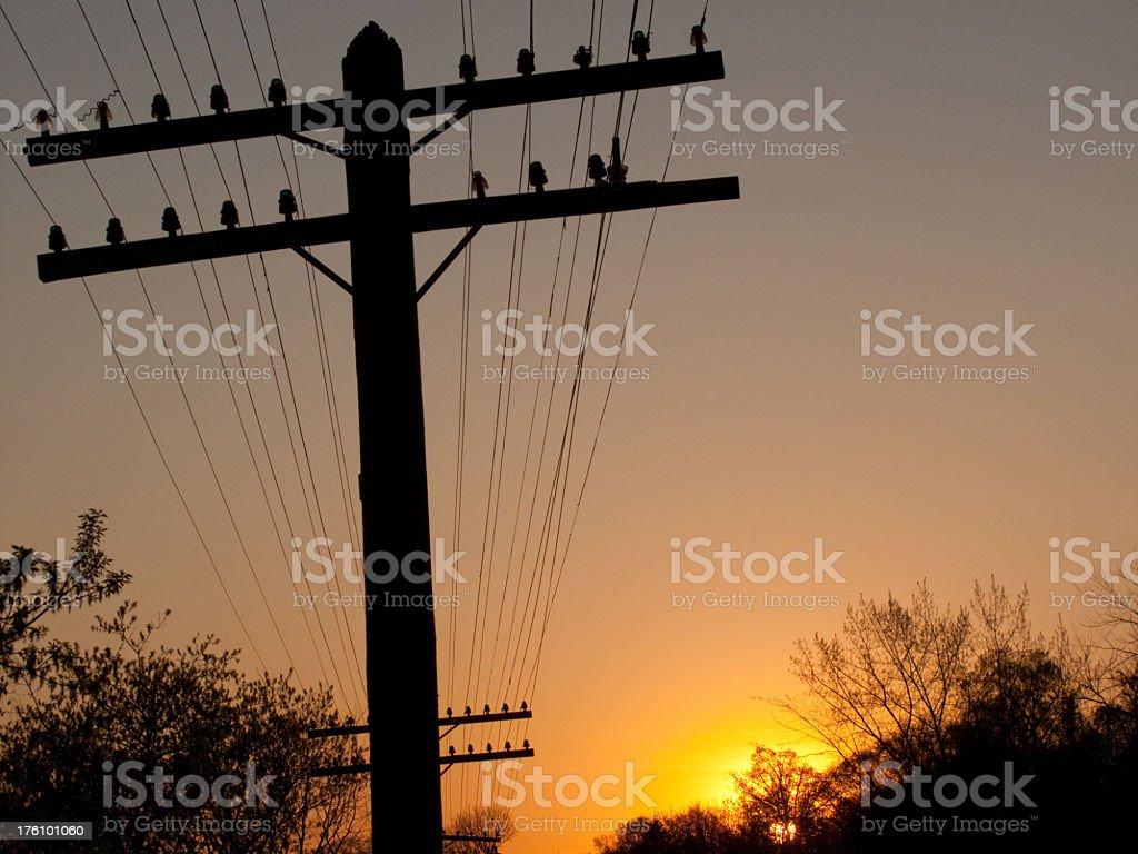 Sunset Utility Pole stock photo