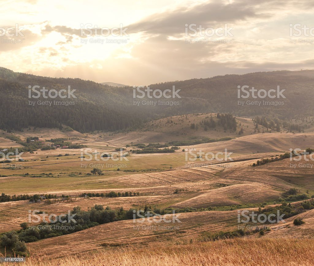 sunset valley royalty-free stock photo