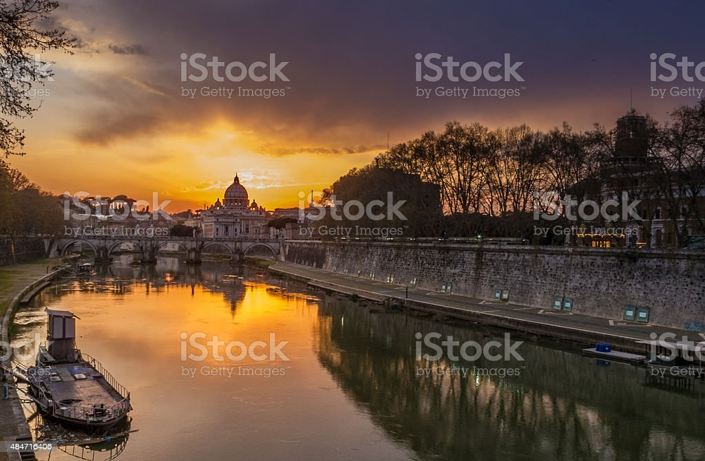 sunset Vatican view from Tevere river stock photo