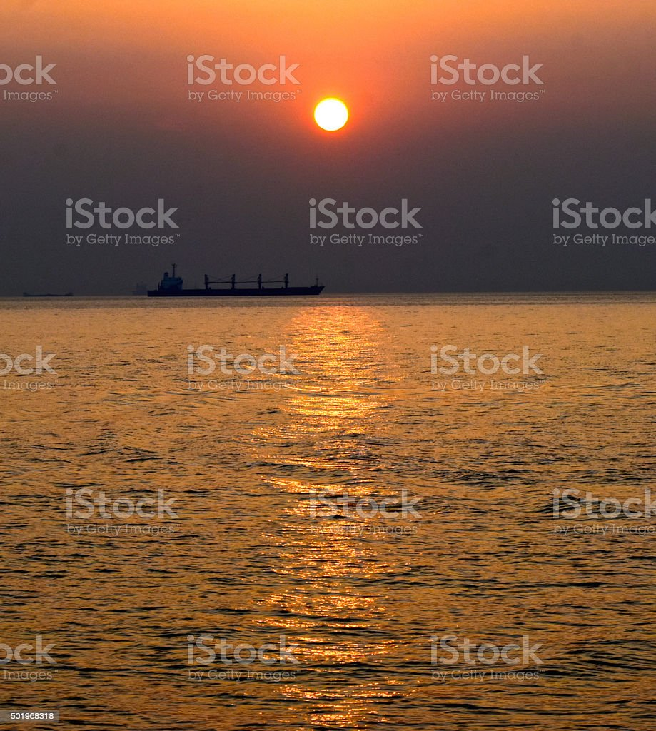 Sunset view at the Bay of Bengal stock photo