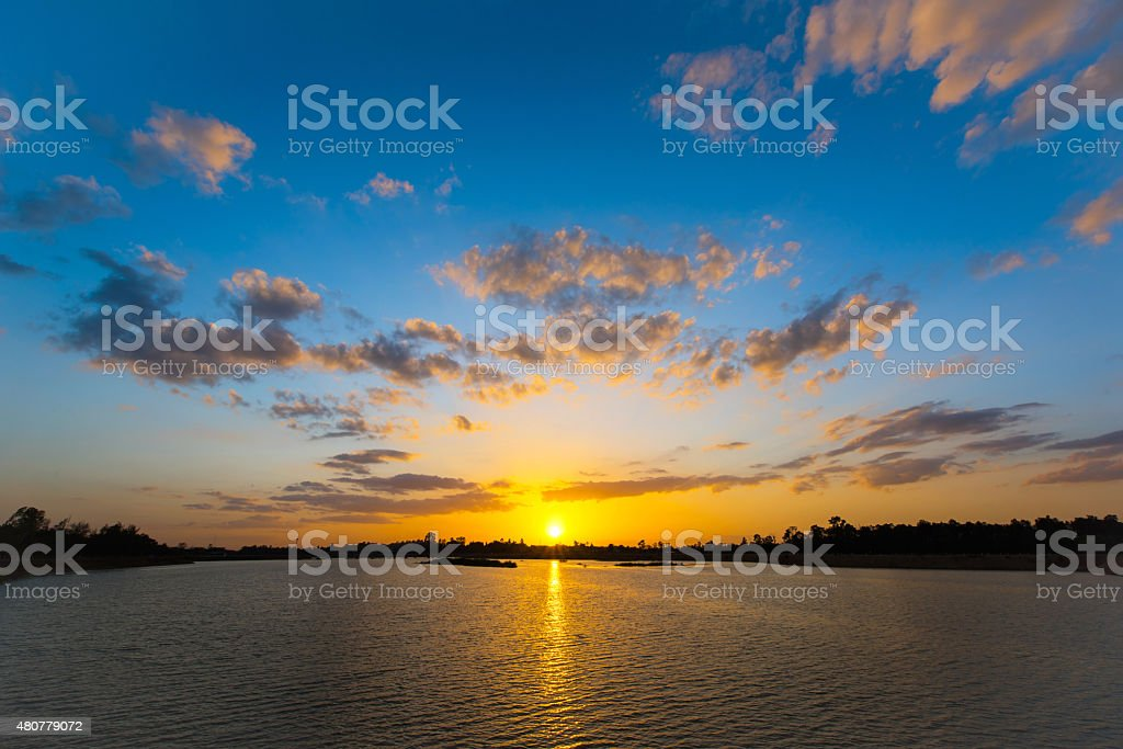 Sunset view at the lake stock photo