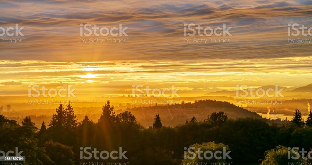 sunset view from a mountaintop stock photo