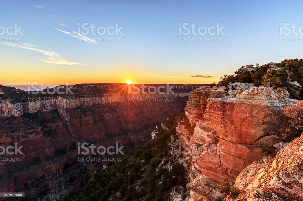 Sunset view from Bright Angel Point stock photo