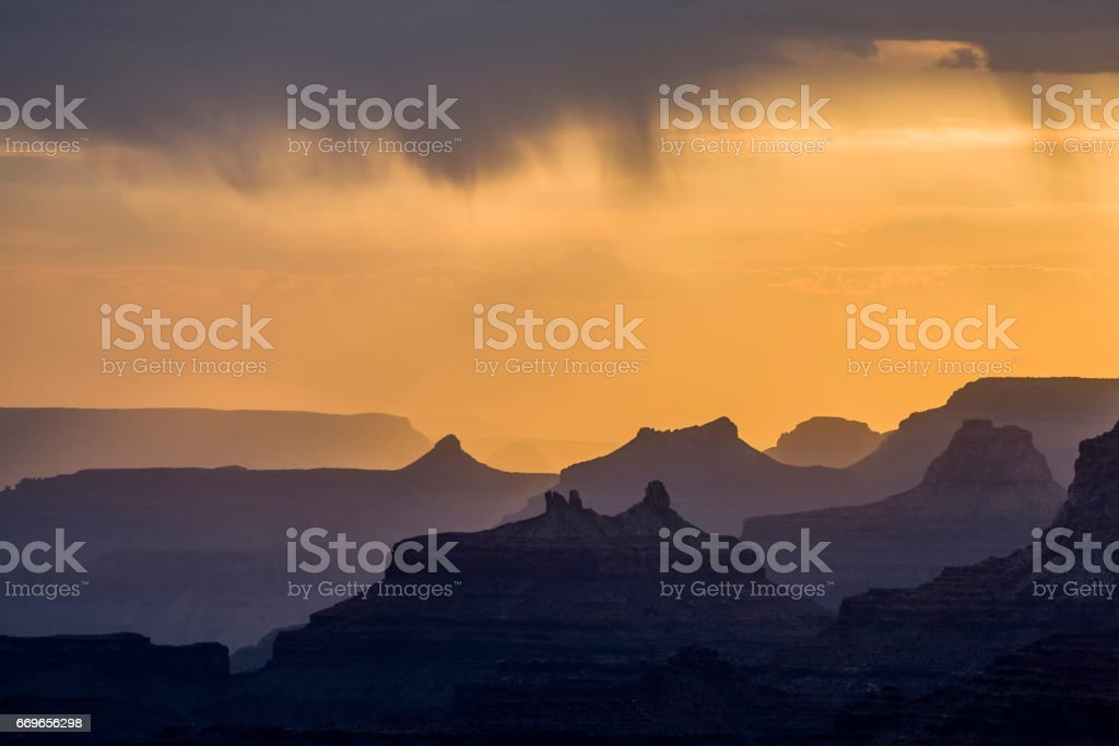 sunset view from Desert View Point into the Grand canyon stock photo