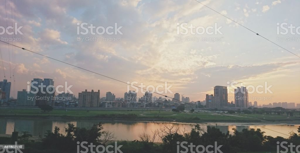 A sunset view from Guting Riverside Park,Taipei stock photo