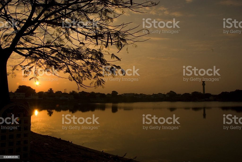 Sunset view from lake stock photo