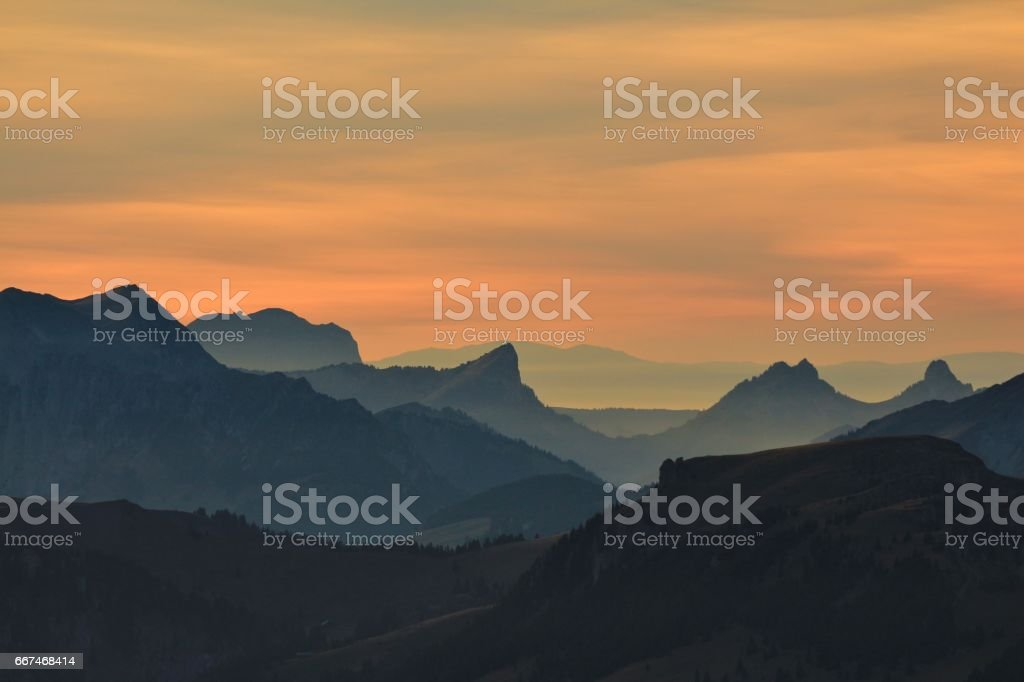 Sunset view from mount Niesen stock photo