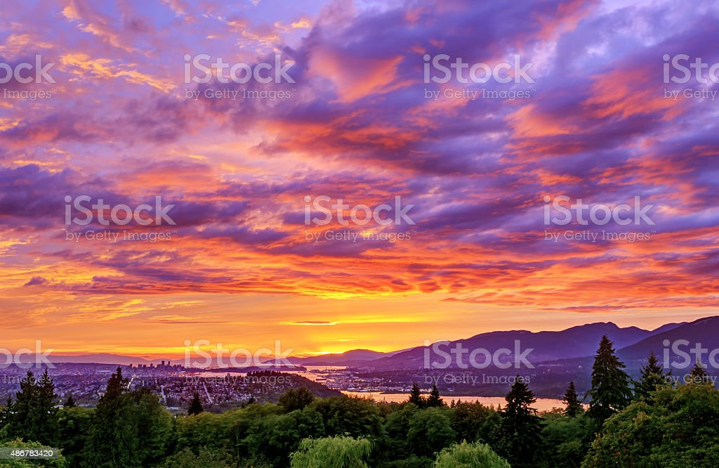 sunset view from mountain stock photo