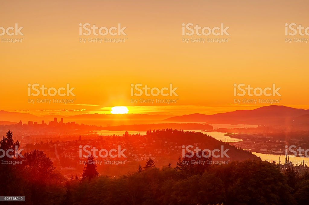 sunset view from mountaintop, Burnaby Mountain, British Columbia, Canada stock photo