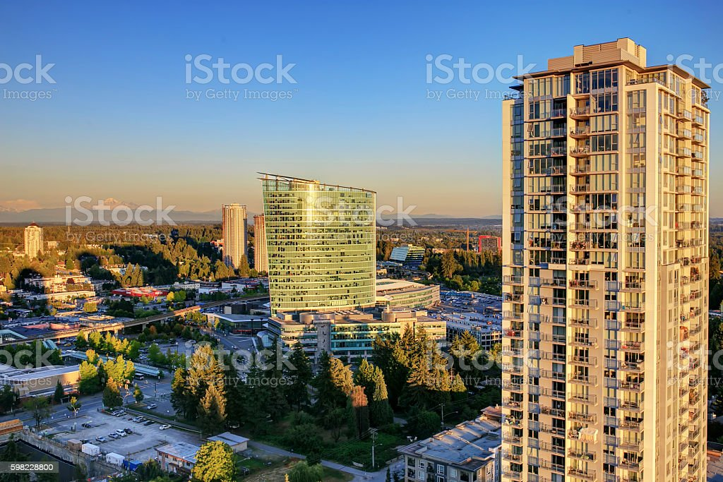 Sunset view from rooftop of highrise, Surrey, BC, Canada stock photo