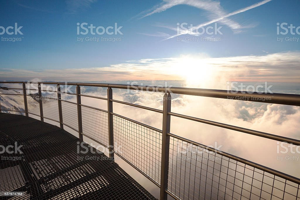 Sunset view from the observation deck of the hut Gouter stock photo
