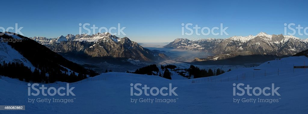 Sunset view from the Pizol ski area stock photo