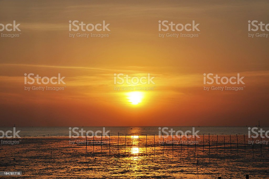Sunset view from the sea coast royalty-free stock photo