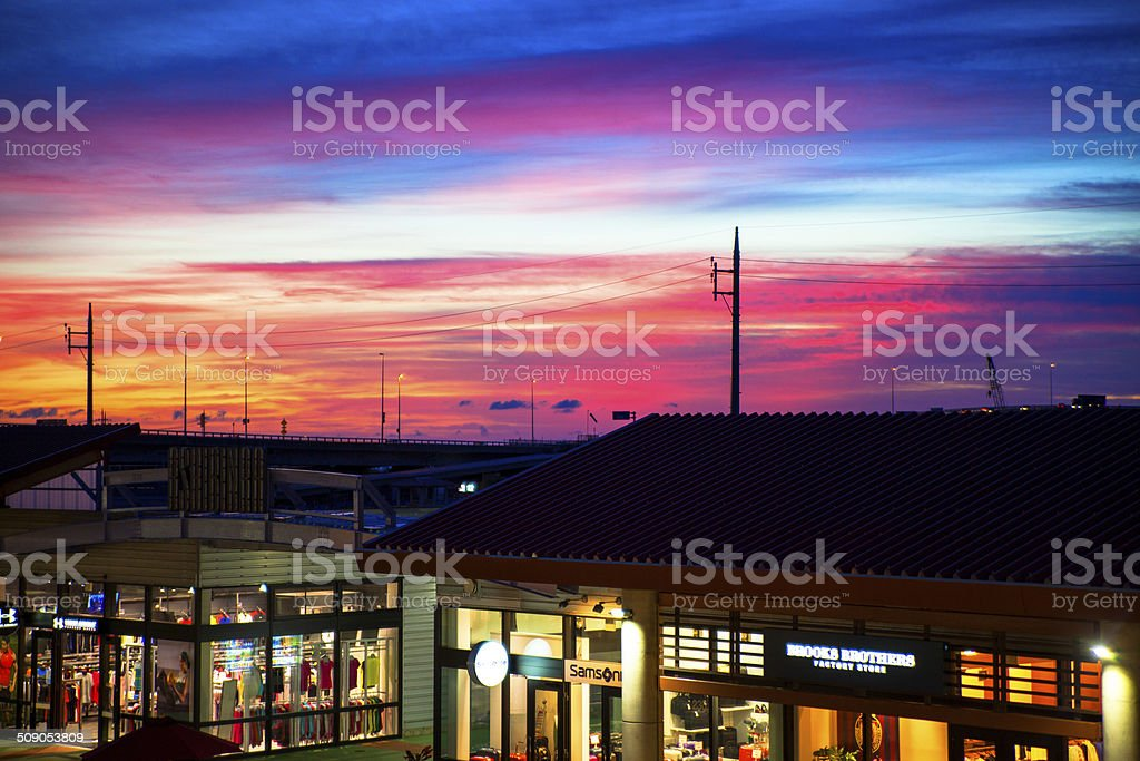 Sunset view from the shopping mall stock photo
