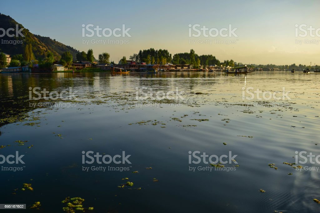 Sunset view in Dal Lake stock photo