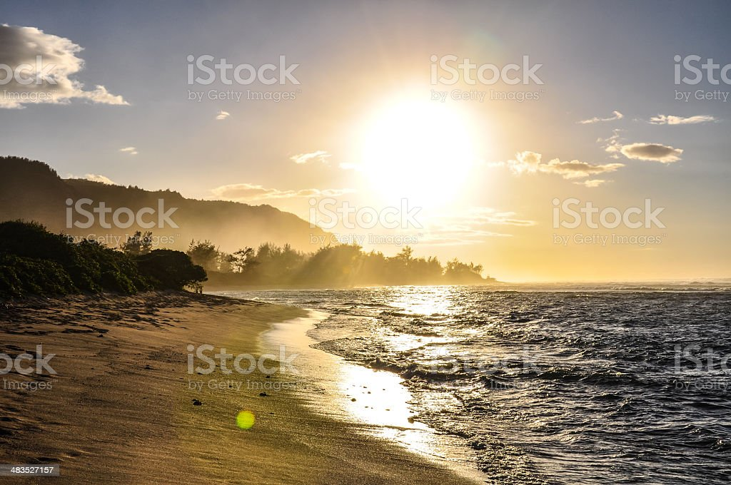 Sunset view near Haleiwa - Oahu, Hawaii stock photo