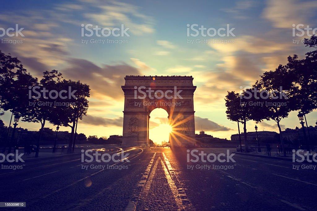 Sunset view of Arc de Triomphe, Paris, France stock photo